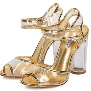 Shoes - Gold peep toe clear straps lucite heel sandal